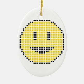 Blocky Smiley Face Christmas Ornament