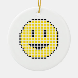 Blocky Smiley Face Round Ceramic Decoration