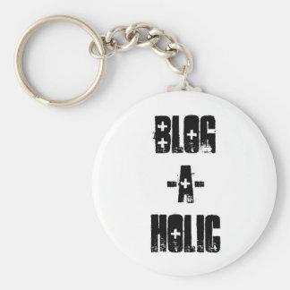 Blog-A-Holic Keychain (White)