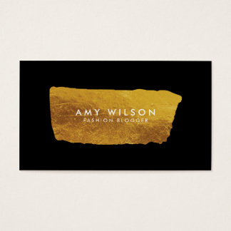 Blogger Elegant Faux Gold and Black Social Media Business Card