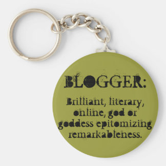Blogger Keychain/Green Basic Round Button Key Ring
