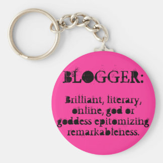 Blogger Keychain/Pink Basic Round Button Key Ring