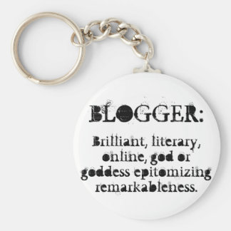 Blogger Keychain/White Basic Round Button Key Ring