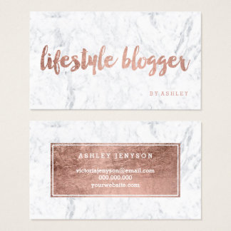 Blogger modern faux rose gold typography marble business card