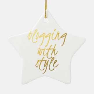 Blogging with Style - Gold Script Christmas Ornament