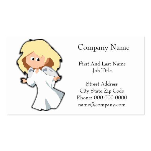 Blond Baby Angel Christmas Cartoon Business Card Template