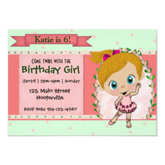 Blond Ballet or Dance Party 13 Cm X 18 Cm Invitation Card