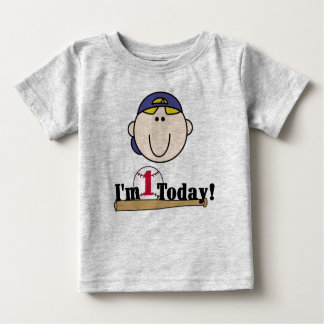 Blond Baseball First Birthday T Shirt