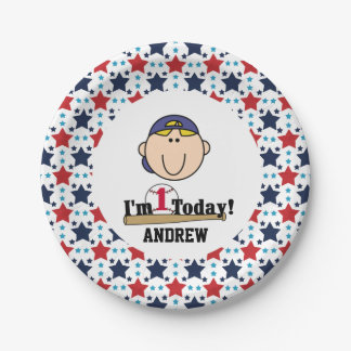 Blond Boy Baseball 1st Birthday Paper Plates 7 Inch Paper Plate