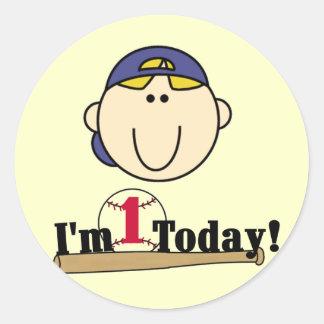 Blond Boy Baseball 1st Birthday Tshirts Round Sticker