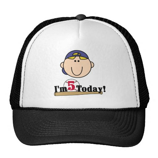 Blond Boy Baseball 5th Birthday Mesh Hats