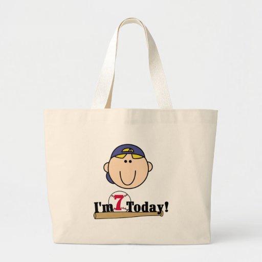 Blond Boy Baseball 7th Birthday Canvas Bag