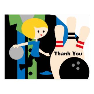 Blond Boy Bowling Birthday Thank You Postcard