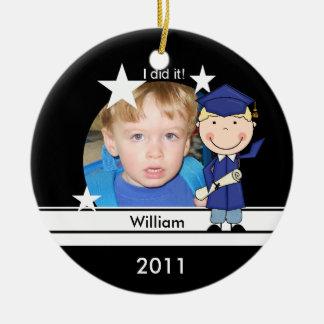 Blond Boy Graduate Customized Photo Keepsake Christmas Ornament