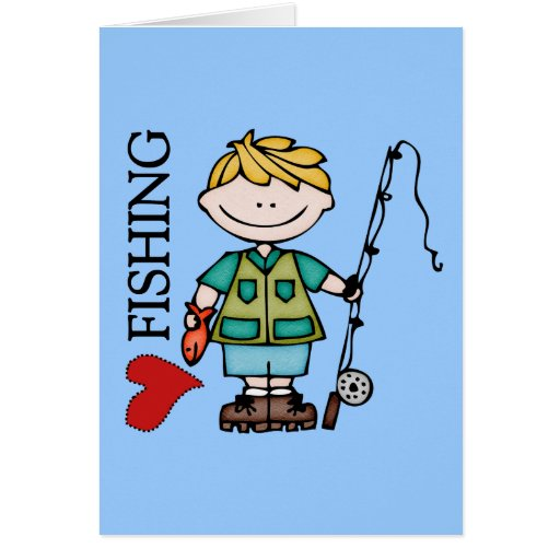 Blond Boy I Love Fishing Greeting Cards