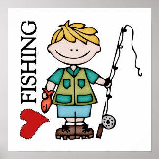Blond Boy I Love Fishing Print