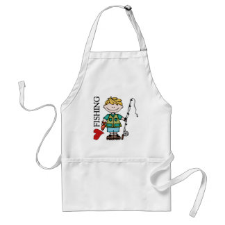 Blond Boy I Love Fishing Standard Apron