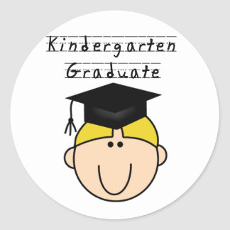 Blond Boy Kindergarten Graduate Tshirts Classic Round Sticker