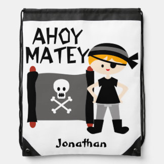 Blond Boy Pirate Drawstring Bag