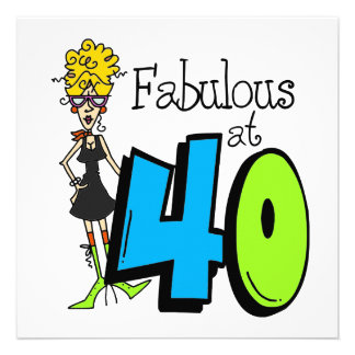 Blond Fabulous at 40 Birthday Personalized Announcements