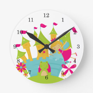 Blond Fairy Princess Round Clock