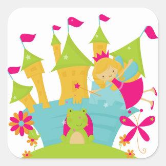 Blond Fairy Princess Square Stickers