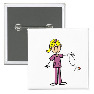 Blond Female Stick Figure Nurse 15 Cm Square Badge
