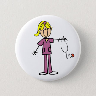 Blond Female Stick Figure Nurse 6 Cm Round Badge
