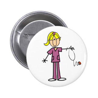 Blond Female Stick Figure Nurse 6 Cm Round Badge