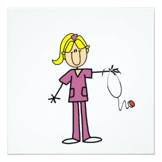 Blond Female Stick Figure Nurse Invite