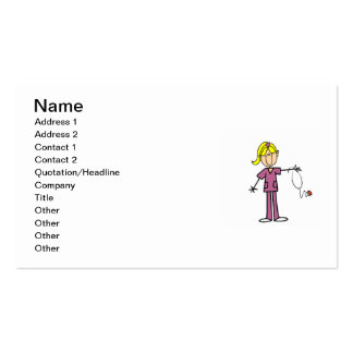 Blond Female Stick Figure Nurse Pack Of Standard Business Cards