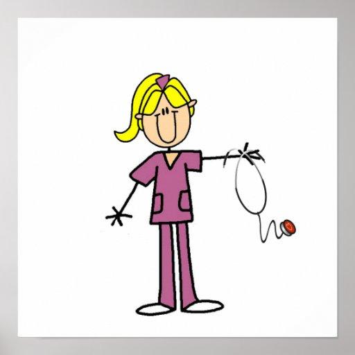 Blond Female Stick Figure Nurse Posters
