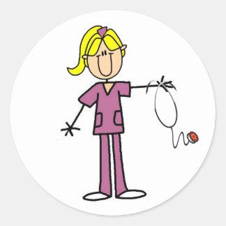 Blond Female Stick Figure Nurse Round Sticker