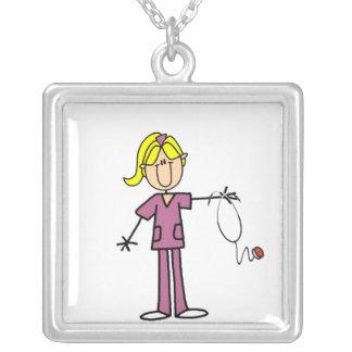 Blond Female Stick Figure Nurse Silver Plated Necklace