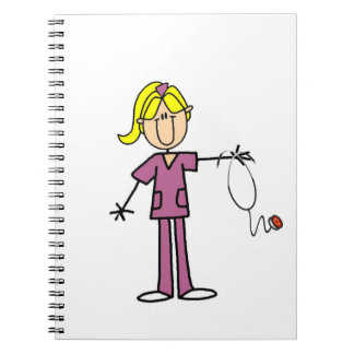 Blond Female Stick Figure Nurse Spiral Notebook