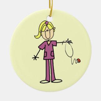 Blond Female Stick Figure Nurse T-shirts Christmas Ornament