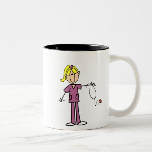 Blond Female Stick Figure Nurse T-shirts Mugs