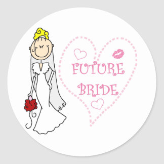 Blond Future Bride T-shirts and Gifts Round Sticker
