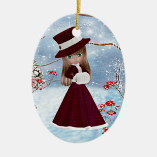 Blond Girl, Christmas, Snow Christmas Ornament