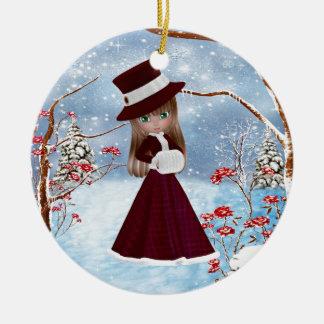Blond Girl, Christmas, Snow Round Ceramic Decoration