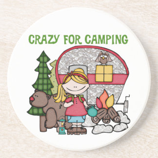 Blond Girl Crazy For Camping Drink Coasters