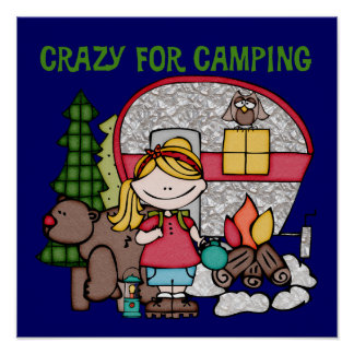 Blond Girl Crazy For Camping Poster