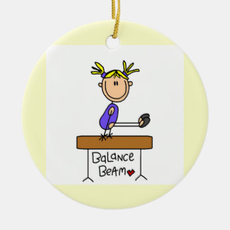 Blond Girl Gymnast on Balance Beam Christmas Ornament