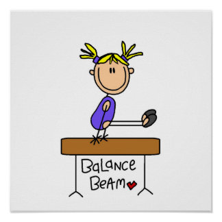 Blond Girl Gymnast on Balance Beam Poster