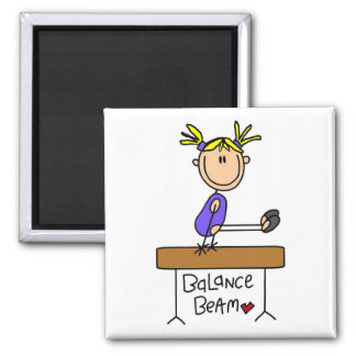 Blond Girl Gymnast on Beam Tshirts and Gifts Square Magnet