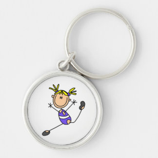 Blond Girl Gymnast Tshirts and Gifts Silver-Colored Round Key Ring