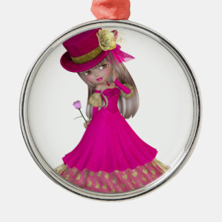 Blond Girl Holding a Pink Rose Christmas Ornament