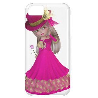Blond Girl Holding a Pink Rose iPhone 5C Cases