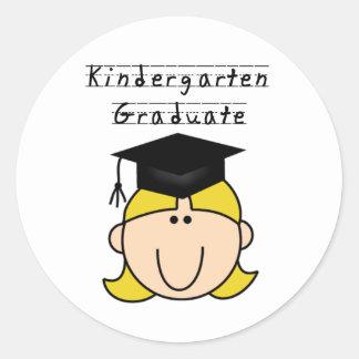 Blond Girl Kindergarten Graduate Classic Round Sticker