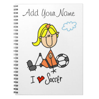 Blond Girl Stick Figure I Love Soccer Gifts Notebooks